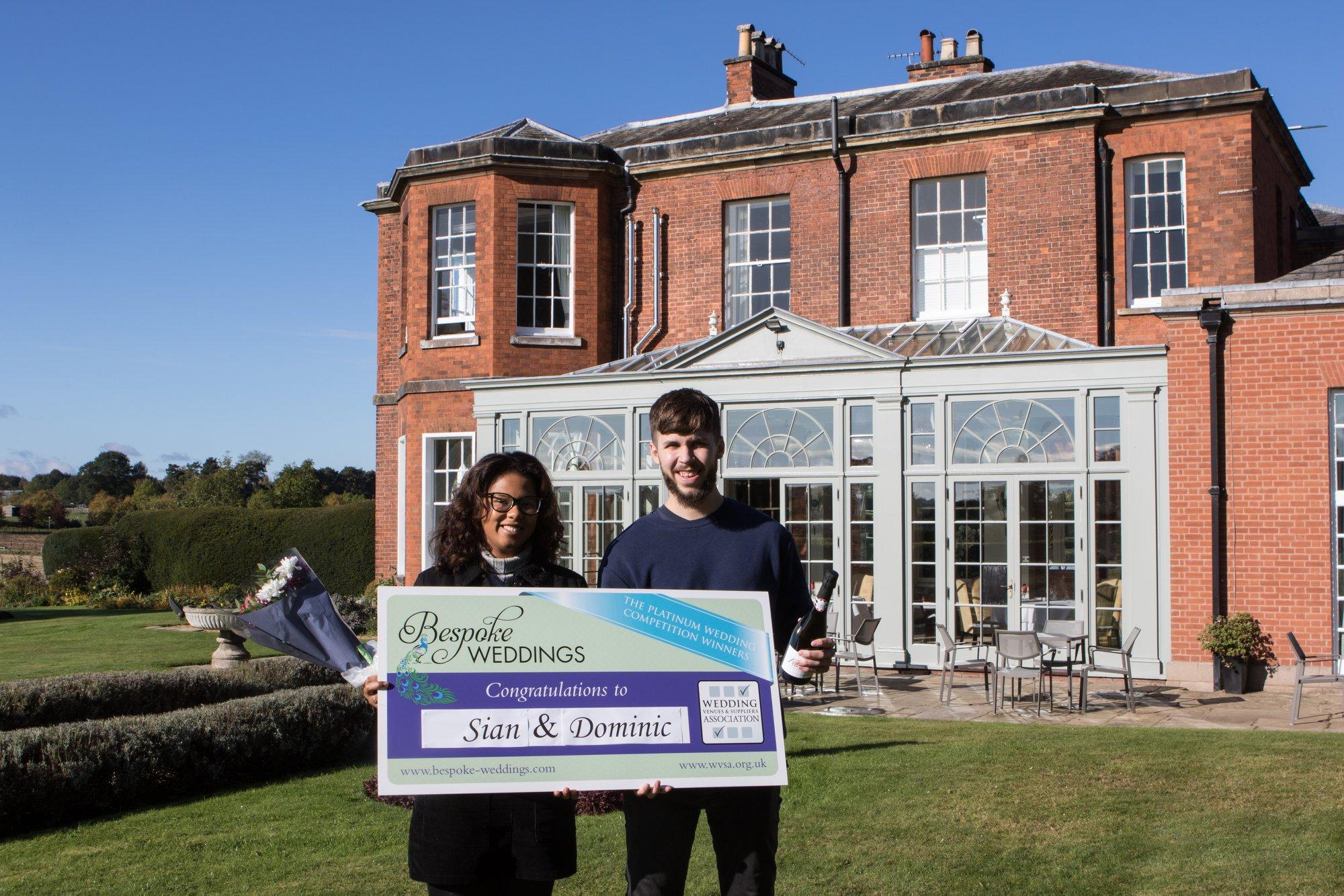 Sian & Dominic Dovecliff Hall Cheque Presentation